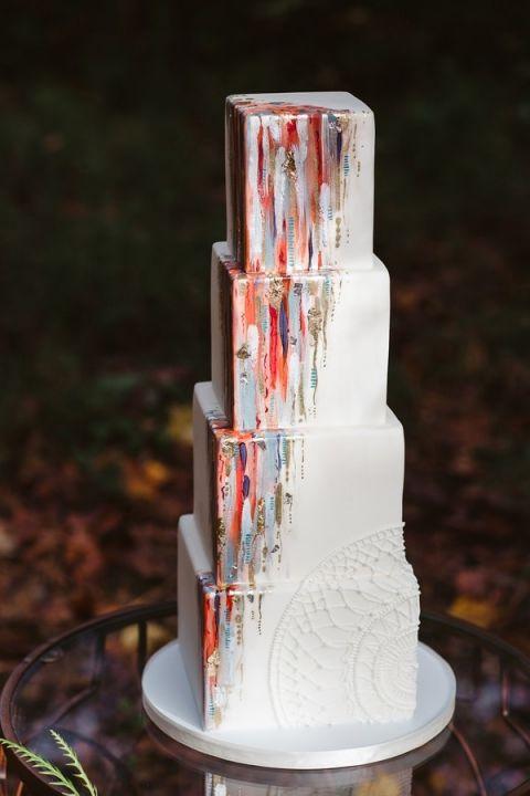 Modern Art Fall Wedding Cake