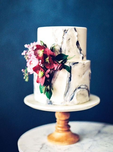 Best wedding cake inspiration of 2016 hey wedding lady marbled wedding cake with floral details junglespirit Image collections