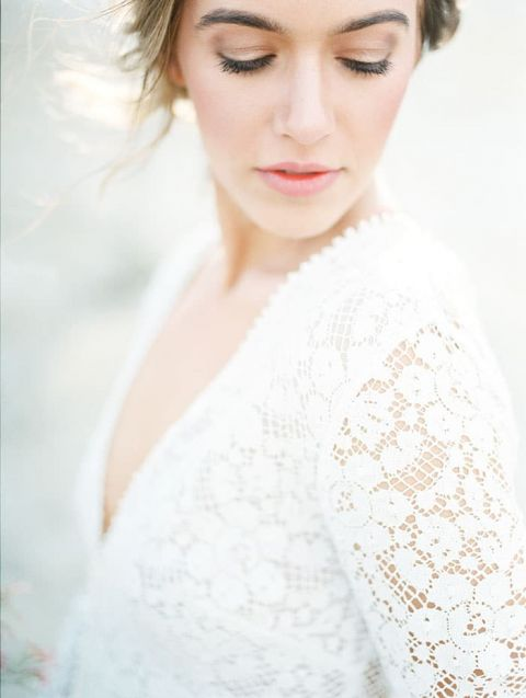 Natural Glam Bridal Makeup with a Lace Wedding Dress