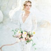 Dreamy Boho Bride with a Long Sleeve Lace Dress