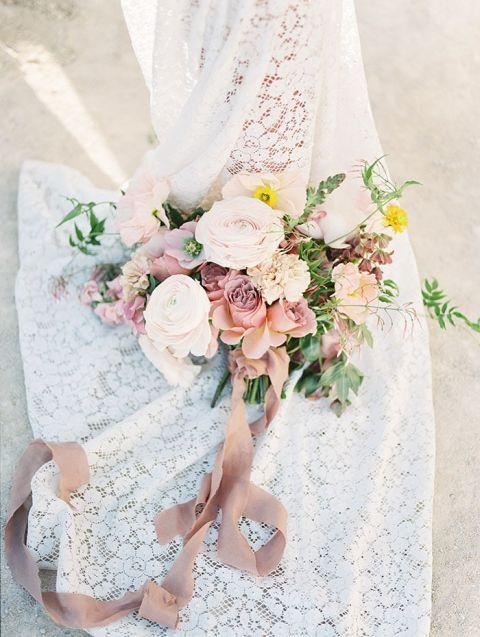 Boho Lace Wedding Dress with a Desert Sunset Inspired Bouquet