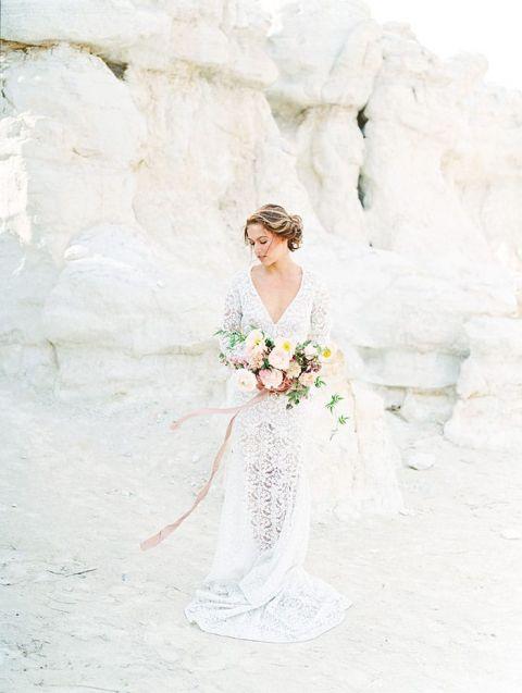 Painted Canyon Bridal Shoot with a Boho Dress
