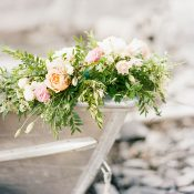 Vintage Rowboat with Flowers and Greenery