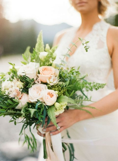 Peach and Greenery Summer Bouquet