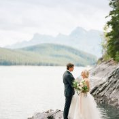 Lake Side Wedding Ceremony with a Mountain View