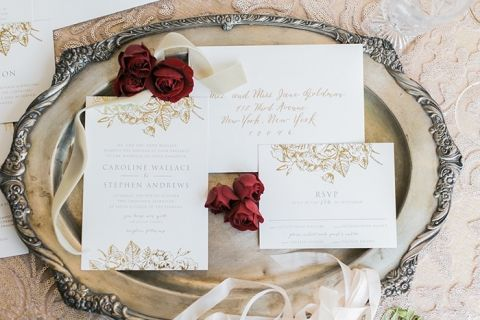 Elegant Gold Floral Print Wedding Invitations from Minted