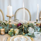 Classic Wedding Inspiration with a Greenery Runner and Gold Decor