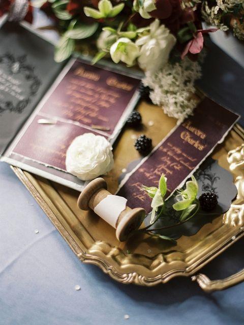 Plum and Gold Wedding Invitation Suite