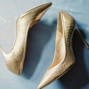 Metallic Gold Wedding Day Shoes