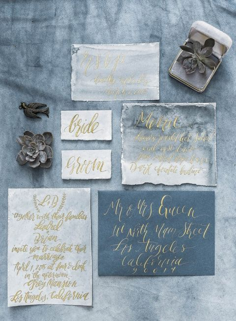 Slate Blue and Gold Calligraphy Wedding Invitations