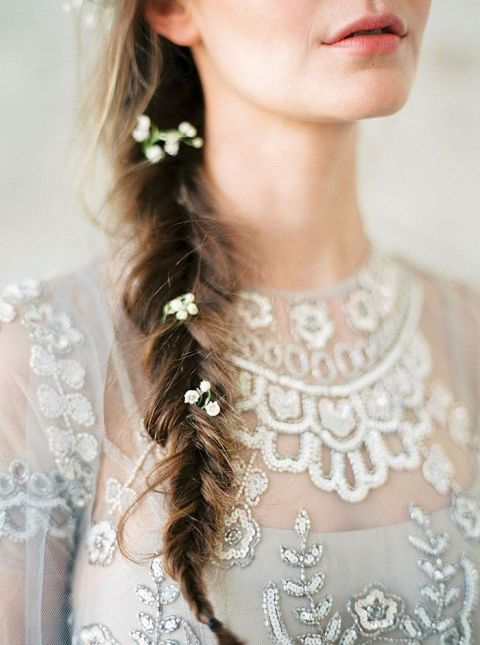 Bridal Braid with Delicate Flowers and a Silver Embroidered Dress
