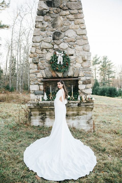 Elegant Winter Bride with a Long Train