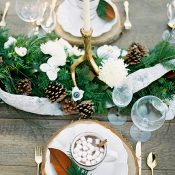 Winter Greenery Garland with Gold Antler Candlesticks