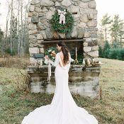 Open Back Wedding Dress with a Long Train and Sleeves