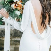Open Back Crepe Wedding Dress with Long Sleeves