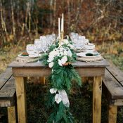 Rustic Farm Table with a Greenery Garland