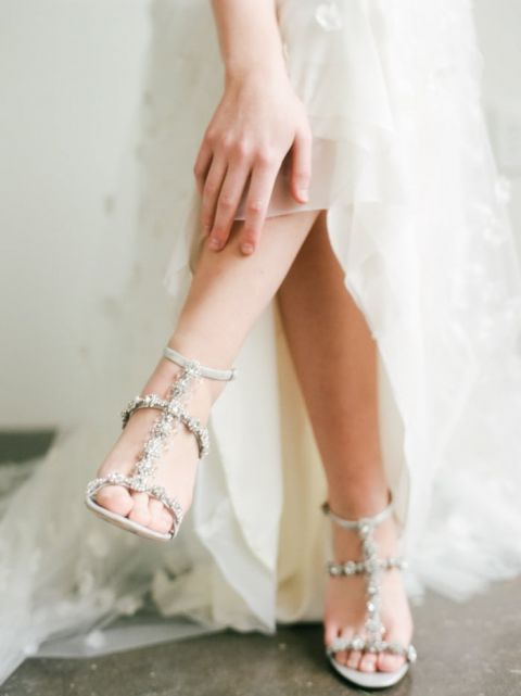 Jeweled Bridal Sandals With A Floral Wedding Dress