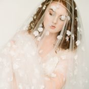 Veil Covered in Silk Flowers with a Gold Headpiece