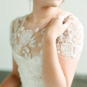 Delicate Illusion Lace Wedding Dress with Cap Sleeves