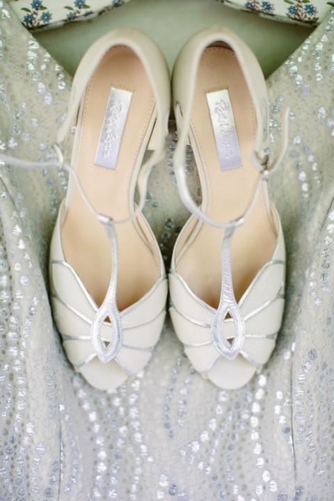 Silver Peep Toe Wedding Shoes