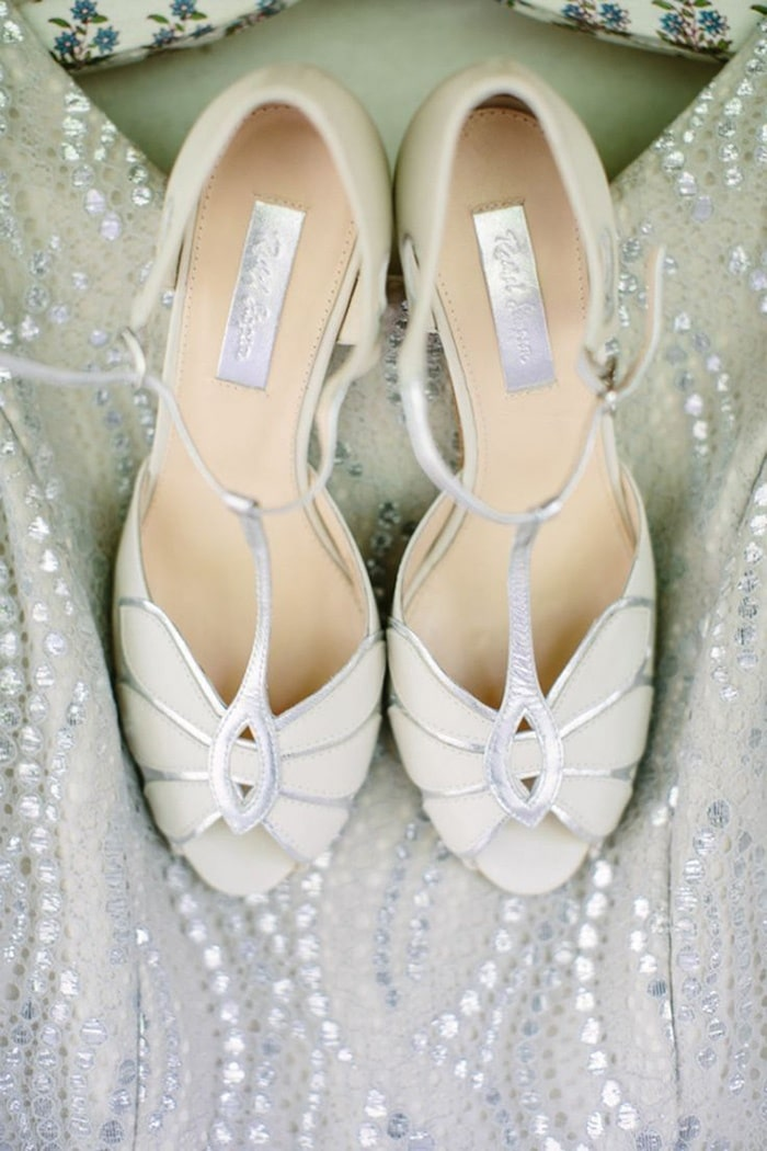 Silver Peep Toe Wedding Shoes