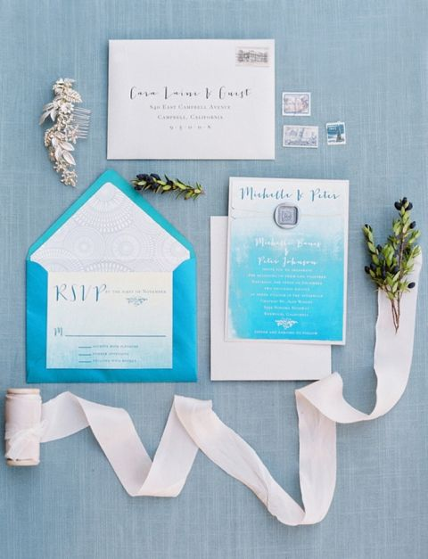 Blue and White Ombre Wedding Invitations