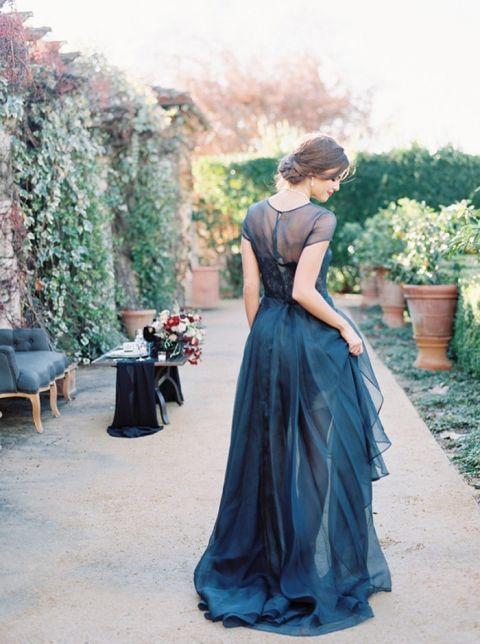 Midnight Blue Wedding Dresses 75 New Sheer High Low Reception