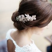 Elegant Bridal Updo with a Jeweled Hairpiece