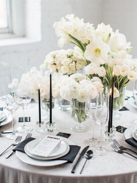 A fresh take on a black and white wedding hey wedding lady white wedding flowers with minimalist black decor mightylinksfo