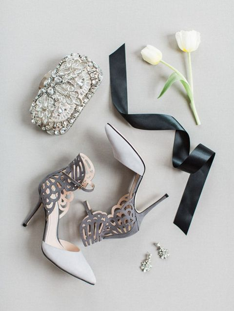 Modern Glam Bridal Accessories with Laser Cut Shoes and a Jeweled Clutch