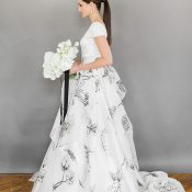 Elegant Wedding Dress with Black Floral Print