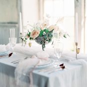 Blush Wedding Flowers with Natural Silk Drapery