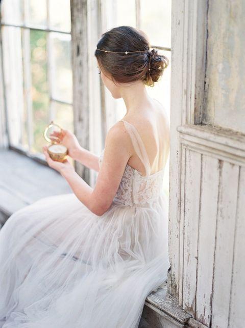 Romantic Fine Art Bride in a Gray Lace Dress