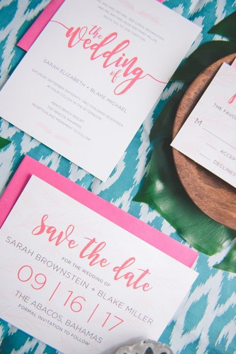 Coral Wedding Invitations with Tropical Print