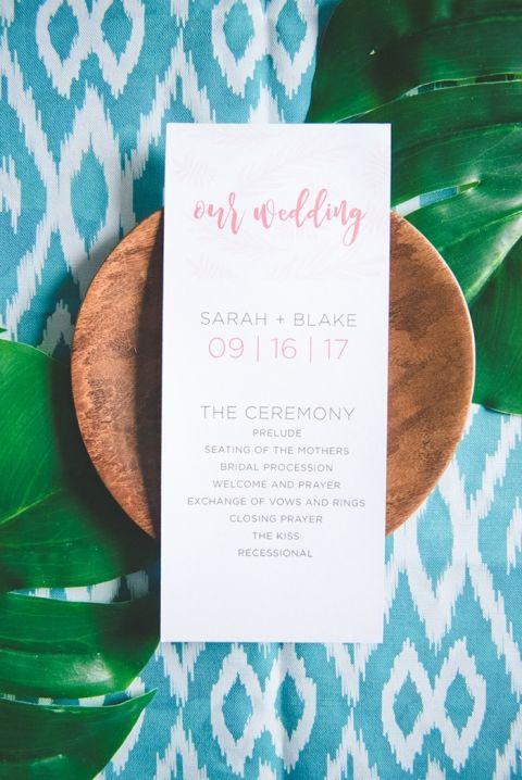 Clean and Modern Tropical Wedding Program