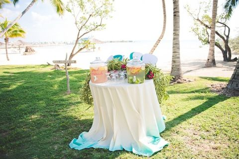 Tropical Beach Wedding Refreshment Station with Dip Dyed Linens