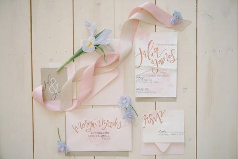 Modern Lettered Invitations with Pastel Watercolors