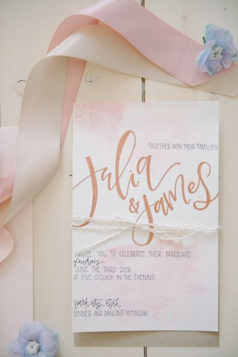 Blush and Rose Gold Hand Lettered Invitations