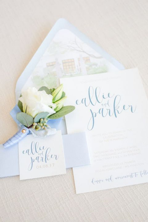 Pastel Blue Hand Lettered Invitation