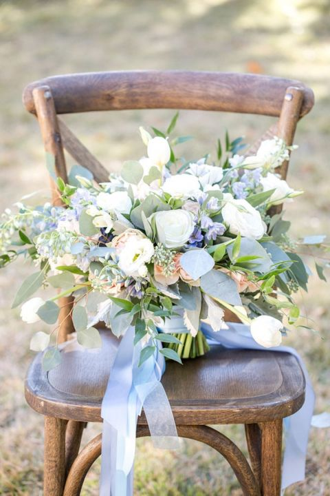 Pastel Blue and Peach Bouquet
