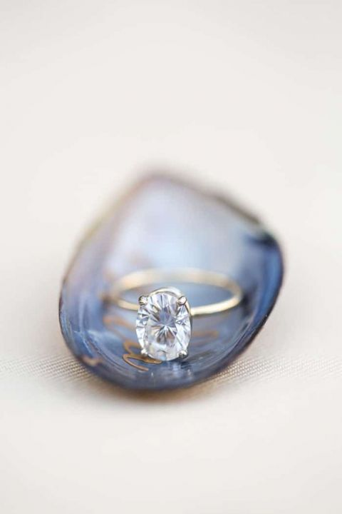 Elegant Oval Diamond Engagement Ring on a Mussel Shell