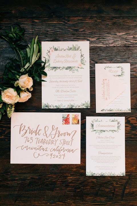 Floral Print Invitation with Metallic Lettering