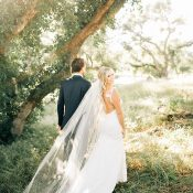 Backless Lace Wedding Dress with a Long Veil