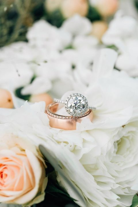 Halo Engagement Ring with a Diamond Band