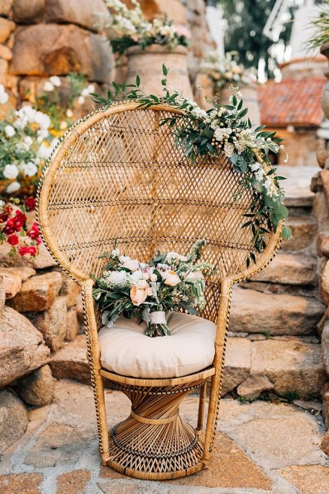 Bohemian Wedding Chair with an Organic Bouquet