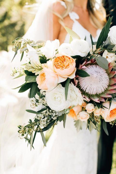 Garden Rose and Protea Bouquet for a SoCal Bride