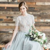 Graceful Gray Lace and Tulle Wedding Dress
