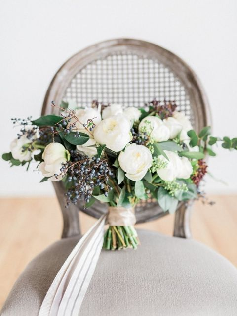 Winter Greenery and Spring Flower Bouquet