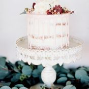 Blush Drip Cake with a Greenery Garland