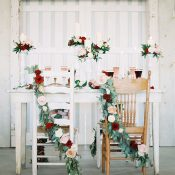 Rustic Vintage Sweetheart Table with Floral Garland Chair Decor